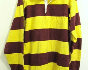 A Mens Vintage 80's 2-Tone Striped RUGBY Shirt By Lands' End.M (tall)