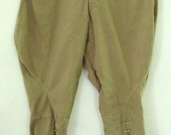 A Pr Vintage 40's WWII era,U.S. MilitaryTan KHAKI RIDING Pants.30W