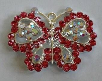 37mm x 45mm VALENTINE butterfly heart BLING rhinestone pendant