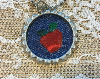 Apple Bottle Cap Necklace with Ball Chain, silver colored