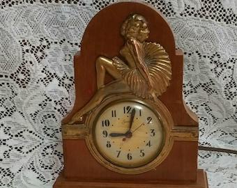 Vintage Sessions Electric Mantle Clock, Dancer Clock, Master Crafters Mantle Clock, Art Deco Mantle Clock