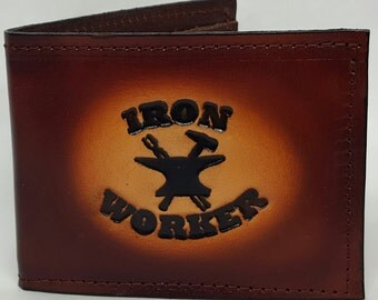 Iron Worker Bifold or Trifold Leather Wallet B1801