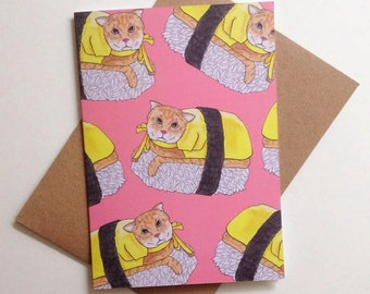 Pink Sushi Cat Card