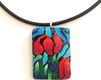 Ras pendant polymer clay necklace, Tulip