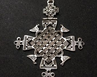 Silver cross - Ethiopian motif - handmade in Cairo