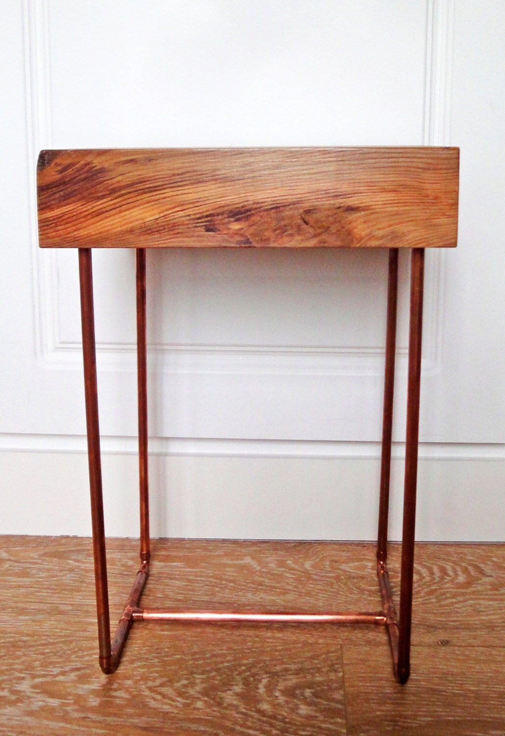 Side table with copper pipe legs for Table y copper