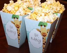 "Giraffe Baby Shower Popcorn Boxes, ""Oh Baby"" Popcorn Boxes, Baby Shower Popcorn Boxes, Giraffe Baby Shower Printables"