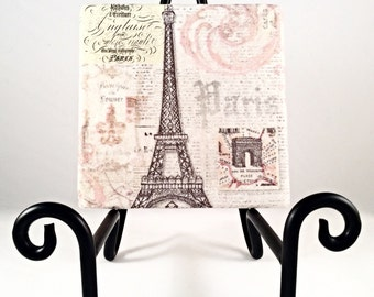 Eiffel Tower Postcard Coaster Set  ( set includes 4 tiles)