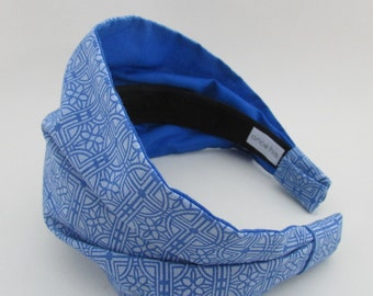 Blue Womens Geometric Printed Headband Hairband