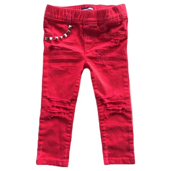 Toddler skinny jeans. Kids pants. Red skinny jeans. Baby boy