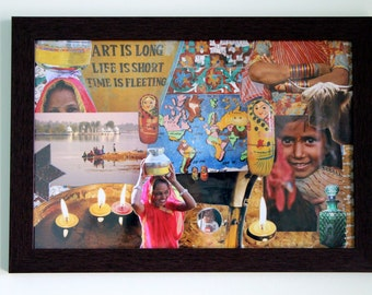 "Warm Ethnic Original Collage Framed Art Piece: ""Mesmerized By Mangi"" (16X10 Inches)"