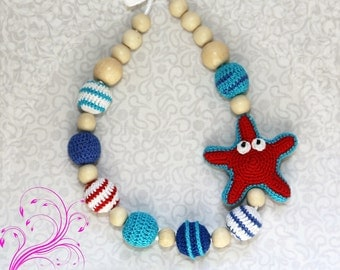 Sea necklace Starfish necklace Teething necklace Nursing necklace for Mommy Breastfeeding Baby necklace Nursing Teether  Teething toy