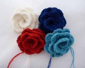 On sale Knit Flower/Hand knit flower brooch/Knit Flower Hair tie/band
