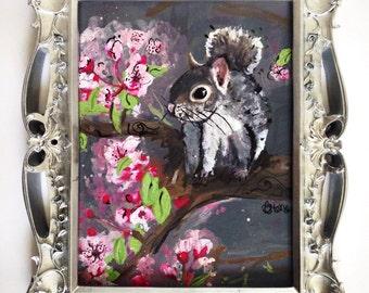 original gray squirrel acrylic painting