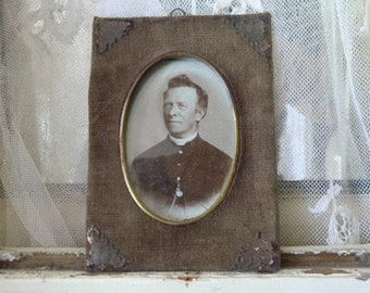Faded vintage Antique 1893 picture men portrait Sepia photograph in velvet picture frame, all original patina, French shabby chic