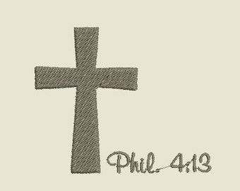 Machine Embroidery Cross with Phil. 4:13