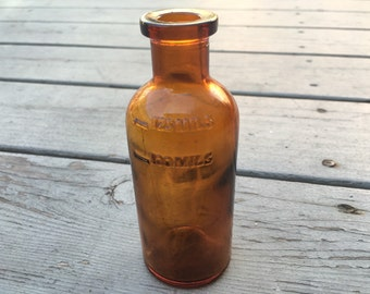 Antique Apothecary Measuring Bottle, Handblown Amber Glass