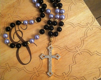 Glass pearl cross necklace
