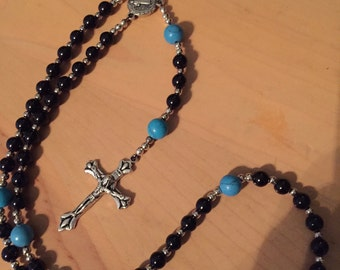 Blue and black rosary