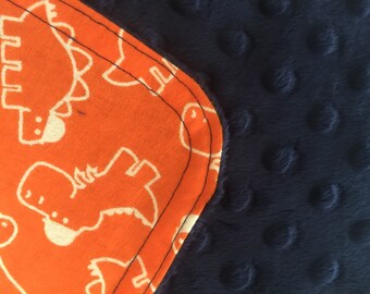 Personalized Minky Burp Cloth- Orange Dinosaurs With Hats