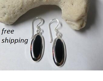 Silver black onyx earrings, 92.5 sterling silver