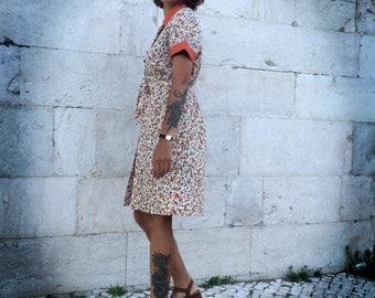 60s FLORAL BEIGE DRESS