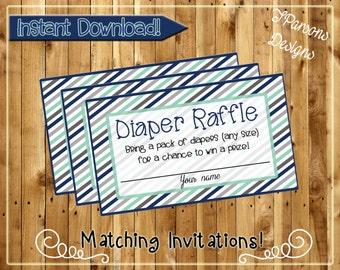 Light Striped Diaper Raffle Tickets-Digital Download