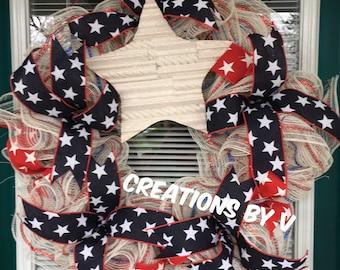 Stars and stripe wreath