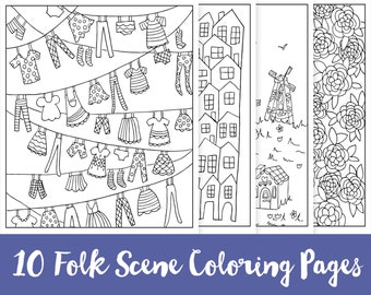 SALE! 10 Folk Scene Printable Coloring Pages