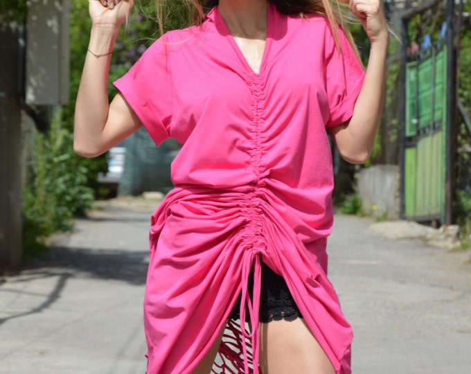 Plus Size Backless Pink Dress, Extravagant Long Kaftan Dress, Loose Open Back Cotton Dress by SSDfashion