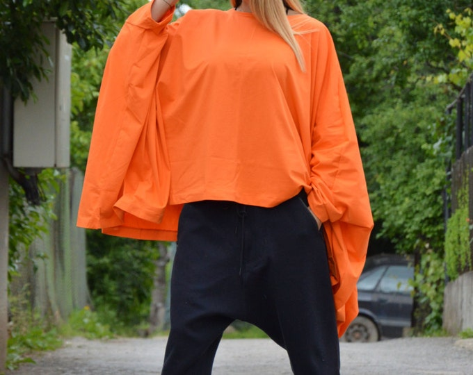 Oversized Cotton Orange Tunic, Plus Size Maxi Clothing, Asymmetric Tunic, Loose Casual Tunic By SSDfashion