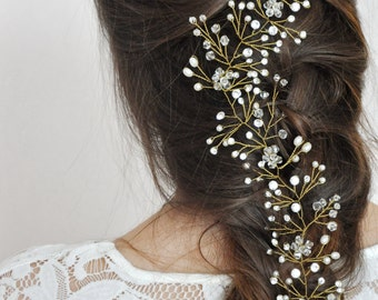Wedding accessories Bridal Hair Wedding headband Vine Crystal Garland crown Bride hair vine Pearl crystal Crown Pearl crown Bride hair LV12