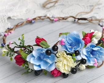 Flower crown Floral crown Hair wreath Wedding flower crown Bridal floral crown Boho flower crown Bridal flower crown LV12