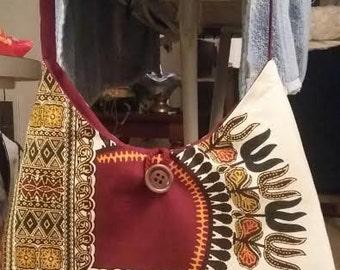 Dashiki Phoebe Bag/ Dashiki Hobo Bag/ Dashiki Fabric Shoulder Bag