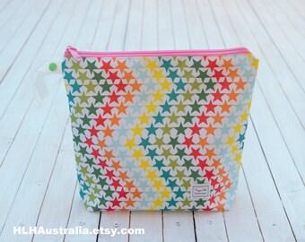 Wipe Clean Makeup Bag.  Wet Bag.  Cosmetic Bag.  Toiletries Bag.  Happy Little Handmades.  Rainbow Stars