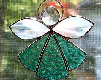 Aqua Stained Glass Angel Suncatcher