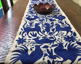 """Otomí hand embroidered table runner (approx. 6' x 16"""") - indigo"""