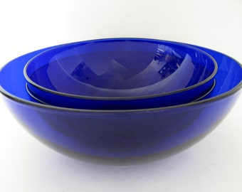 Cobalt Glass Serving Bowls, Set of 3