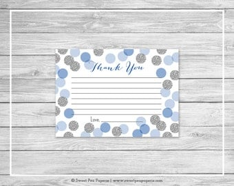 Blue and Silver Baby Shower Thank You Cards - Printable Baby Shower Thank You Cards - Blue and Silver Baby Shower - Thank You Cards - SP124