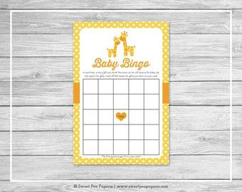 Giraffe Baby Shower Baby Bingo Game - Printable Baby Shower Baby Bingo Game - Yellow Giraffe Baby Shower - Baby Shower Bingo Game - SP131