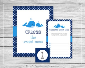 Whale Baby Shower Guess The Mess Game - Printable Baby Shower Guess Sweet Mess Game - Blue Whale Baby Shower - Diaper Game - SP127