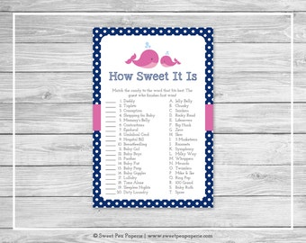Whale Baby Shower How Sweet It Is Game - Printable Baby Shower How Sweet It Is Game - Pink Whale Baby Shower - How Sweet Game - SP128