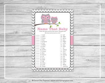 Owl Baby Shower Name That Baby Game - Printable Baby Shower Name That Baby Game - Pink Owl Baby Shower - Name That Baby - Owl Shower - SP134