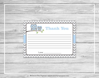 Owl Baby Shower Thank You Cards - Printable Baby Shower Thank You Cards - Blue Owl Baby Shower - Shower Thank You Cards - Owl Shower - SP135
