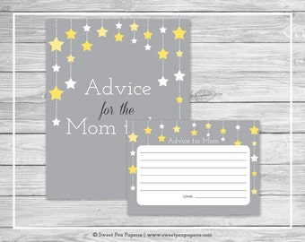 Twinkle Little Star Baby Shower Advice for Mom Cards - Printable Baby Shower Advice for Mom Cards - Twinkle Little Star Baby Shower - SP117