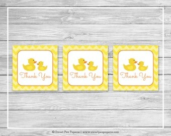 Rubber Ducky Baby Shower Favor Thank You Tags - Printable Baby Shower Thank You Tags - Rubber Duck Baby Shower - Duck Favor Tags - SP121