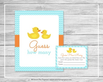 Rubber Ducky Baby Shower Guess How Many Game - Printable Baby Shower Guess How Many Game - Rubber Duck Baby Shower - Guess How Many - SP122