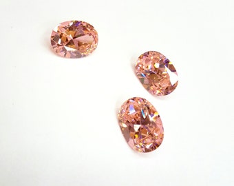 1 Piece Pink/ Rose Cubic Zirconia Stone, Oval, 18x13mm 8mm Deep