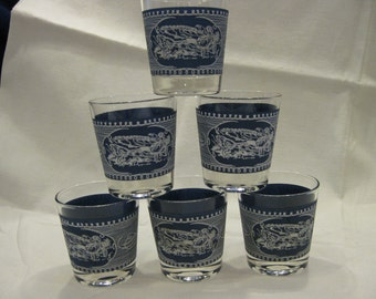 Set of 6 Currier and Ives Hi-Balls/Tumblers