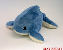 Humped Back Whale Beanie Pocket Plush: Custom Order Ribbed Belly Ivory and Denim Blue Whale Palm Sized Plush